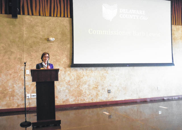 "Delaware County Commissioner Barb Lewis speaks during the annual ""State of the County"" event Tuesday at the Columbus Zoo & Aquarium."