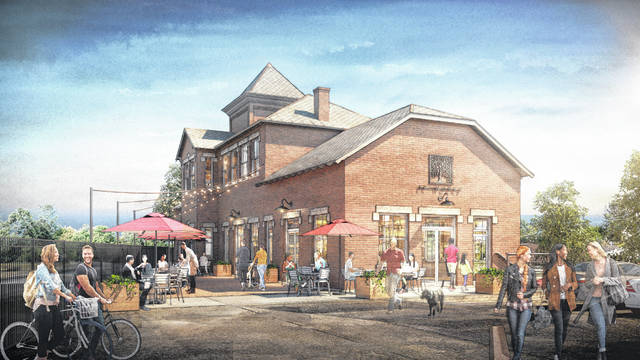 Plans are underway to revitalize the historic train station located at the corner of East Central Avenue and Lake Street. This rendering shows the station as viewed from Central Avenue.