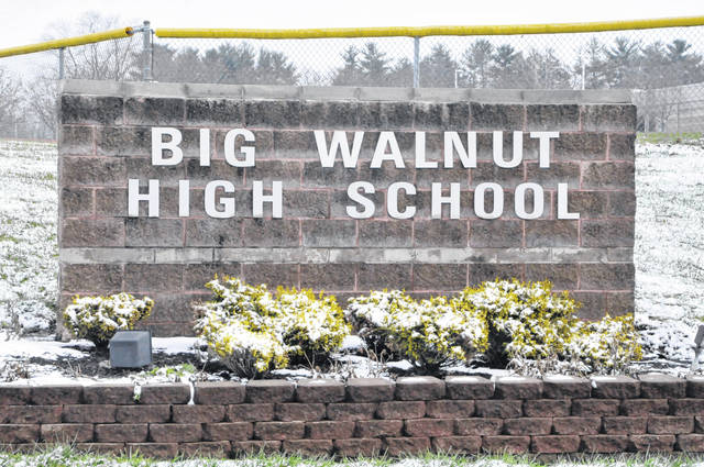 A sign located at the entrance to Big Walnut High School, 555 S. Old 3C Rd. in Sunbury, is pictured in this December 2020 file photo.