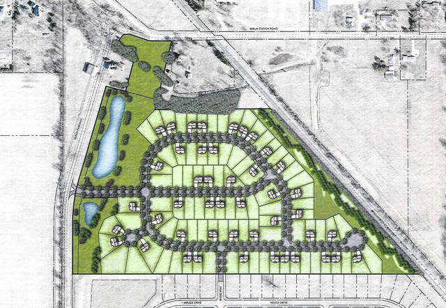Pictured is an illustrative site plan for sections 5 and 6 of the Glenross North subdivision. The development is located east of Glenn Parkway and south of Berlin Station Road in Delaware.