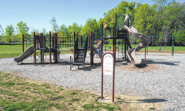 The current playground in the Harlem Township Community Park. Residents want to add more inclusive equipment for children.
