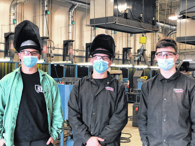 Three students from the Delaware Area Career Center's welding program are headed to the SkillsUSA National Welding Fabrication Competition after taking first place at the regional and state competitions. Pictured, left to right, are Blaize Foster, Cole Duff and Luke Chiles.
