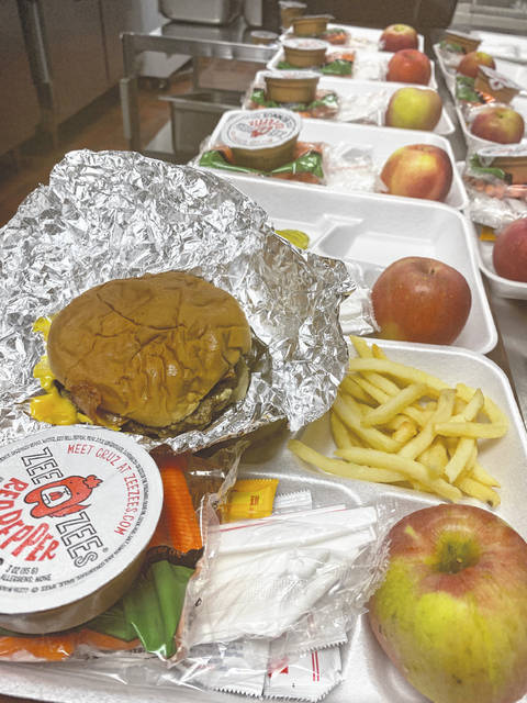 Lunch trays sit ready for students at Dempsey Middle School Tuesday afternoon. Superintendent Heidi Kegley said the free breakfasts and lunches offered to students through the National School Lunch Program will continue to be offered throughout the 2021-2022 school year.