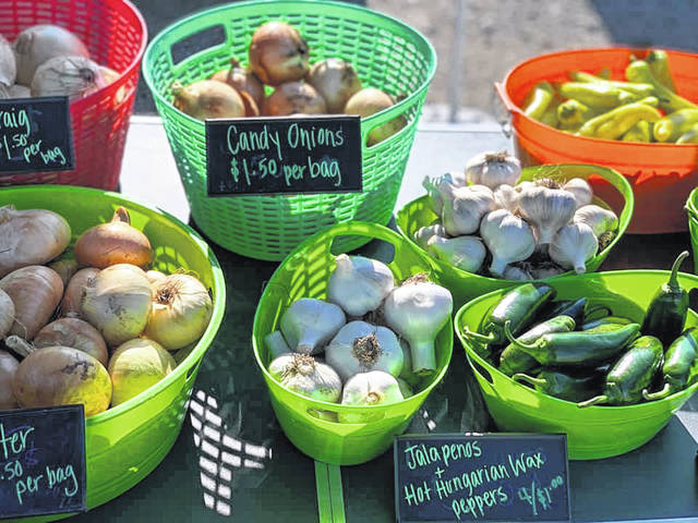 Pictured are some onions and peppers that were available for purchase during last year's Main Street Delaware's Farmers Market.