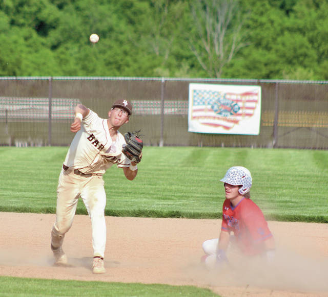 Buckeye Valley's Gianni Passarelli fires to first after getting Licking Valley's Devin McConnell at second base during Thursday's Division II sectional final in Delaware.