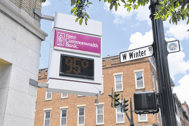 At 1:30 p.m. Monday, the First Commonwealth Bank digital sign displayed a temperature of 95 degrees in downtown Delaware.