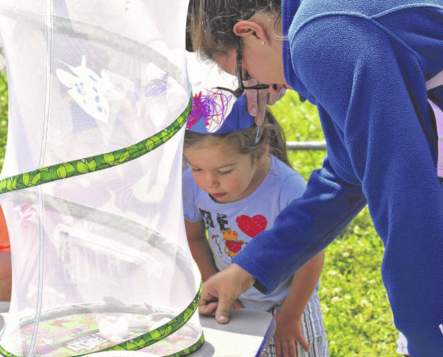 One of the instructors at the community center points out a butterfly in its habitat to a child Thursday afternoon.