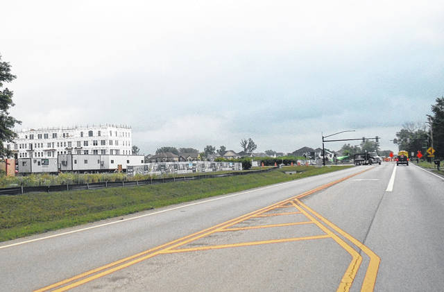 Road work took place at Lewis Center Road near Evans Farm on Thursday morning just past Franklin Street.