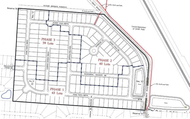 Pictured are the planned lot placements for all three phases of the Park View subdivision, which is proposed to be built on undeveloped land located north of Buehler Drive and west of Troy Road on Delaware's northwest side.