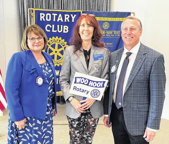 Pictured left to right are incoming Rotary Club of Delaware President Ana Babasz, Rotary District 6990 President Mary Jane Shackelford and outgoing Rotary Club President Scott Cubberly