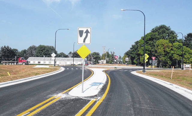 The newly-completed roundabout on Peachblow Road in Berlin Township.