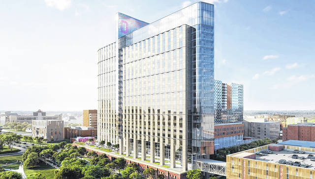 Pictured is a rendering of The Ohio State University's new Wexner Medical Center Inpatient Hospital currently under construction on campus.