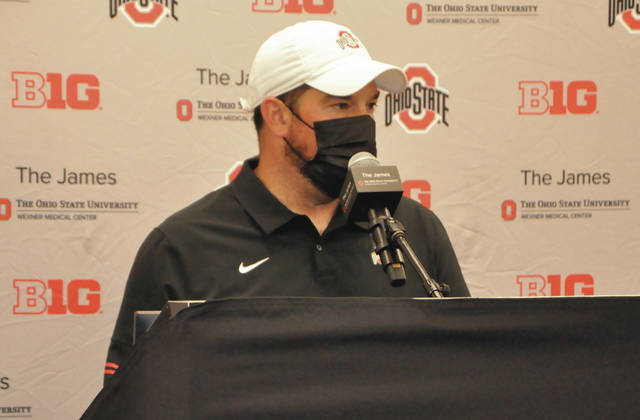 Ohio State head coach Ryan Day meets with the media following practice on Aug. 3.