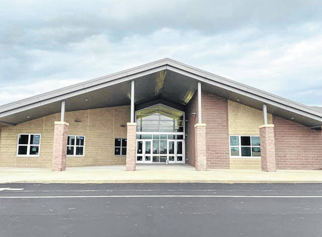 Pictured is the main entrance to Shale Meadows Elementary School on North Road in Lewis Center. The newest building in the Olentangy Local School District will open its doors to students on Aug. 19.