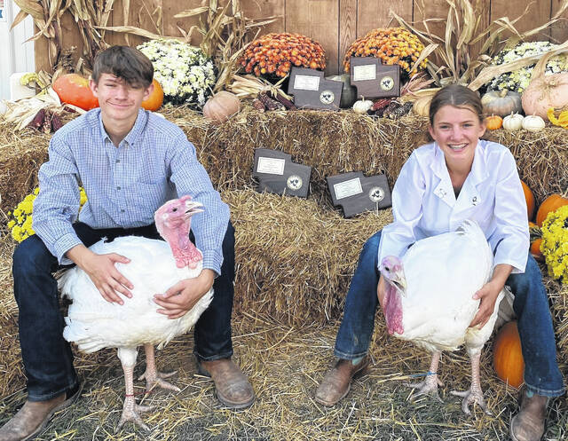 Sierra Sparks, right, poses with her Champion Meat Turkey, while her brother, Coltin Sparks, poses with his Reserve Champion Meat Turkey.