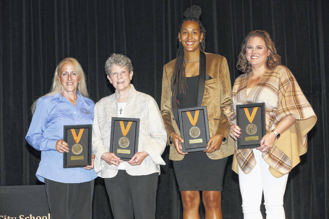 Pictured are four of the five individuals inducted into the Delaware City Schools Hall of Fame Friday. They are, left to right, Susan Hurd Barr (class of 1982), Alice M. Batchelder (class of 1961), Ashleigh Nicole Nordstrom Brown (class of 2006) and Janelle Thompson Gasaway (class of 2001). Richard Hubbard (class of 1955) was unable to attend the event.