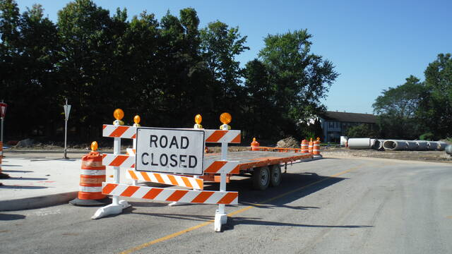 The west side of Lazelle Road is currently closed at a new roundabout at the end of South Old State Road.