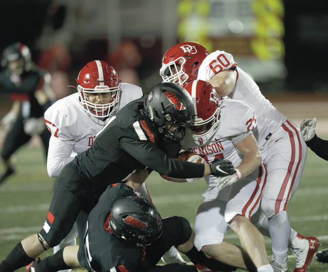 Ohio Wesleyan University's Shane Quin, pictured making a tackle, and the rest of the Bishop football team will open the season Saturday at Otterbein.