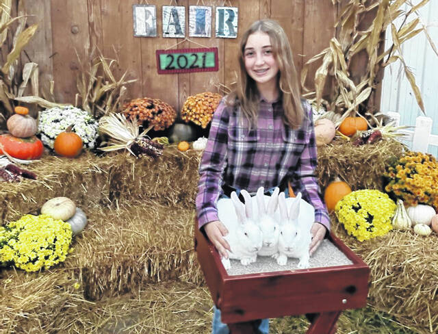 Galena sixth grader Austynn Bowersock poses with her three prize-winning New Zealand rabbits during the Delaware County Fair this week.