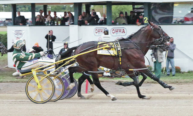 Lou's Pearlman, driven by Yannick Gingras, outlasts Perfect Sting and David Miller in a photo finish to take the $661,800 Little Brown Jug Thursday at the Delaware County Fair.