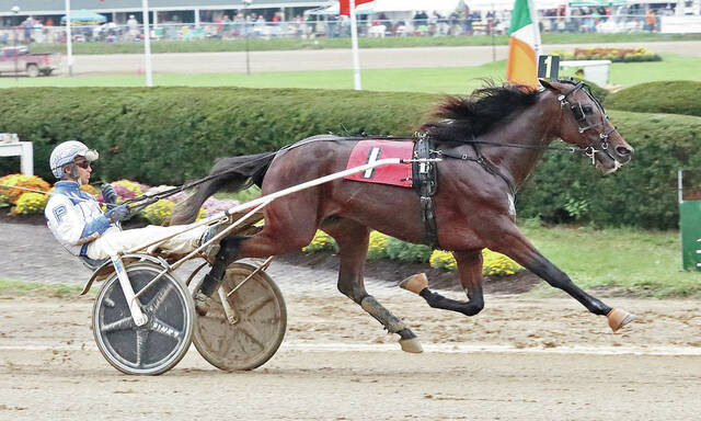 Chris Page drives Rose Run Xtra to a win in the second of two $120,000 (div.) Ohio Breeders Championship divisions Tuesday at the Delaware County Fair.