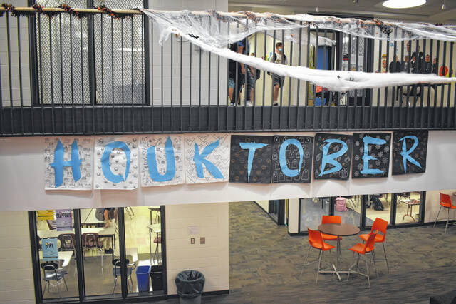 """A banner for """"Houktober"""" hangs in the halls at Hayes High School Wednesday during Spirit Week."""