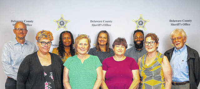 The Delaware County Sheriff's Office inaugural Community Engagement Volunteers. Pictured, left to right, are front row: Kate McDonald, Lynn Stacy, Lorie Altvater and Mindy Hedges; Back row: Vince Pasquale, Jr., Pam Foster, Erica Wood, Matthew Carter and Mike Williams.