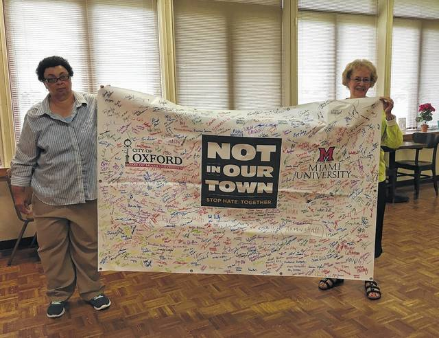 The Not in Our Town banner was debuted at the annual Community Picnic. Since then it has made its way around several community events. Even after there is no more room to sign, the banner will be attending events to inspire inclusion.