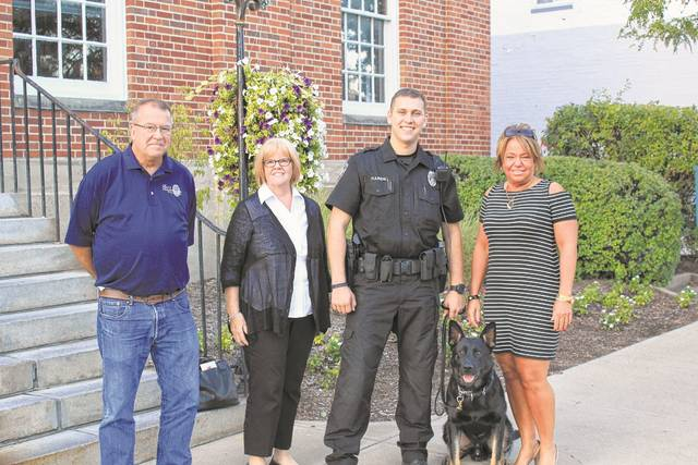 During the city council meeting on Tuesday, Sept. 5, Oxford K9 Unit Roscoe and handler Matt Hardin were introduced to council and the public. In addition to recognizing the new K9 officer, Nancy and Bruce Haverkamp and Jeanette Altenau were recognized for their efforts funding the newest addition to OPD.