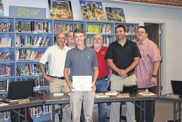 Nathan Osborn was recognized for his recent golf achievements during the Twin Valley Community School District's recent board of education meeting. Osborn won seventh place at the OHSAA District III State Golf, Second Team All Ohio, CCC Player of the Year for the third consecutive year, 2017 CCC League Champion, and 2017 District Golf Champion.