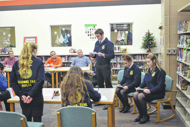 The National Trail FFA Advanced Parliamentary Procedure Team was given an opportunity to practice and demonstrate their skills during the Board of Education meeting on Tuesday, Dec. 5. The team ran through a presentation of what they will be expected to do at the State Competition.