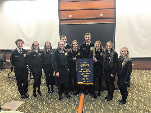 The National Trail MVCTC FFA advanced parliamentary procedure team placed third at the State FFA competition on Saturday Dec. 16. The team includes: Mark Armstrong, Trena Caldwell, Taylor Davis, Abby Rodefer, Ricky Cole, Macel Stowers, Hunter Lee, Gracie Jones, Erika Gallaher, and Racheal Kimball.