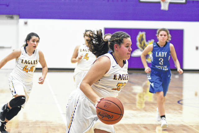 Eaton junior Annika Gels drives to the basket during the second half of the Eagles 44-30 win over Brookville on Thursday, Dec. 14. With the win, Eaton improved to 3-5 overall and 1-3 in the SWBL Southwestern Division.