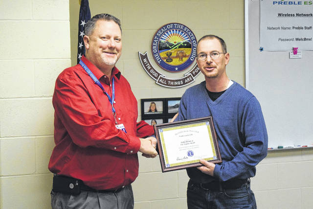 Preble County Educational Service Center Board of Educated named Eddie Mowen Jr., Editor of The Register-herald to the 2017 OSBA Media Honor Roll during a meeting on Friday, Dec. 22.
