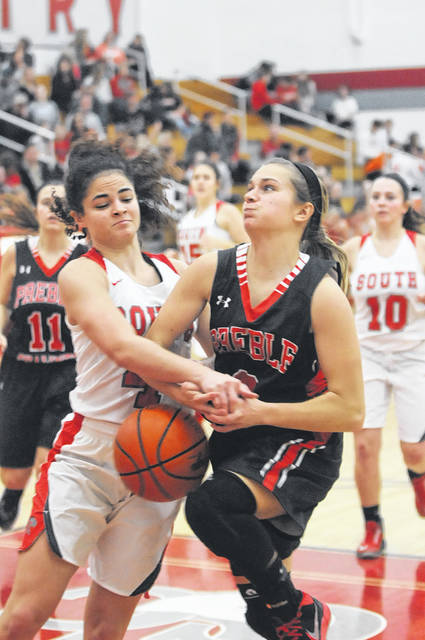 Preble Shawnee's Nicole Sims drives to the basket during the Arrows game at Twin Valley South on Saturday, Jan. 27. Shawnee jumped out to a 30-8 first quarter lead and cruised to a 66-31 win. Sims finished with 19 points.