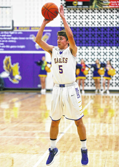 Eaton's Owen Baumann puts up a shot during a recent game.