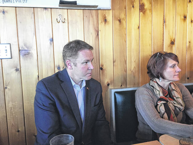 U.S. Congressman Warren Davidson (left) made several stops in Preble County on Friday, Jan. 26. Pictured, he met with members of the Preble County Chamber of Commerce Board of Directors (Cindy Kaufman, right) at the Eaton Place.