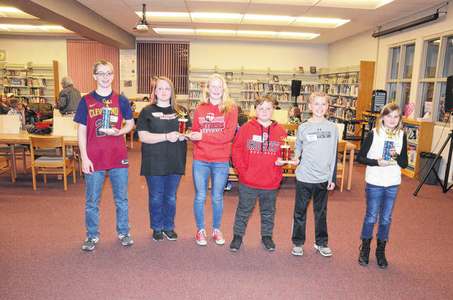 Pictured are this year's Preble County Geography Bee champions and runners-up. Wyatt House, a student at National Trail, was named this year's middle school champion during the annual event held on Tuesday, Feb. 13. Raegan Holland, also from National Trail, was the elementary level champ. Runners-up, in a tie in the middle school category, were Victoria Wright from Preble Shawnee and Lynnlee Voge from Twin Valley South. Fourth-fifth grade runners-up, also in a tie, were Aaron Metz from Bruce Elementary (Eaton) and Zach Lawson from National Trail.