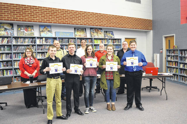 During a meeting on Monday, Feb. 26, the Twin Valley South Board of Education recognized band and choir students for receiving superior ratings during the OMEA District 13 competition. The following students received superior ratings in their corresponding divisions: Ben Bitner for Class C Clarinet Solo, Luke Byrne for Class C French Horn Solo, Gwyneth Cain for Class B Voice Solo, Presley Holthaus for Class A Voice Solo, and Josh Spencer for Class A Trombone Solo.
