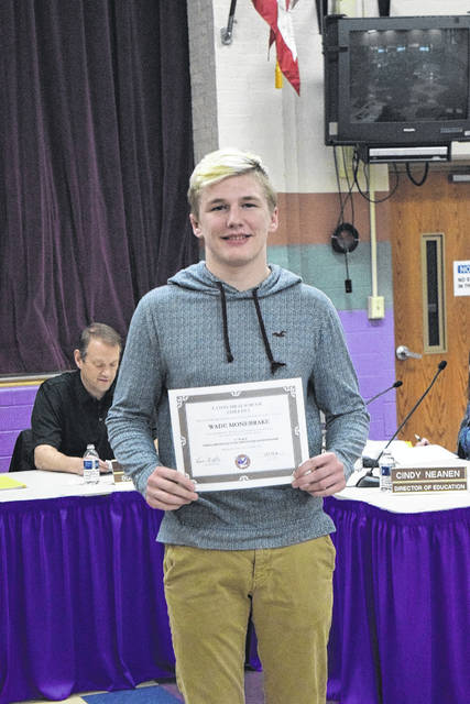Eaton Community Schools Board of Education recognized Wade Monebrake for his second place finish at the OHSAA Division II State Wrestling Competition.