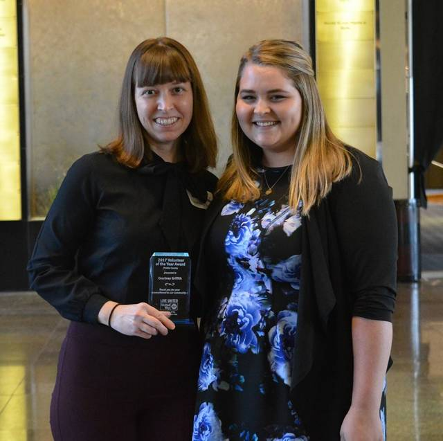 Courtney Griffith, director of the Dayton YWCA Preble County Branch, was named Preble County UW Volunteer of the Year. Griffith (left) is pictured with Alexa Joyce, Preble County UW Director.
