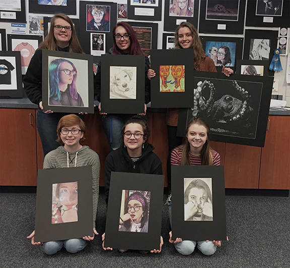 Junior Regional Semi-Finalists: (left to right from top)b ack row: Chloe Thompson, Tipp City, Chase Solberg, Northmont, Reilly Stasienko, Miamisburg; front row: Rivers McShirley, Tri-County North, Macy Galaviz, Butler, Valerie Baker, Milton Union.