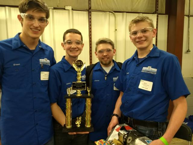 The MVCTC Robotics and Automation team of Caden Vance (Valley View), Jordan Green (Valley View), Cade Carter (Eaton) and Kane Greiner (Tipp City) won first place and People's Choice Award at the XtremeBots Competition with their bot, Jim.