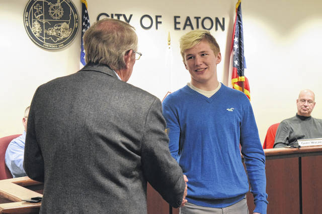 Eaton High School Junior Wade Monebrake was recognized during the Eaton City Council meeting on Monday, April 16, for being the seventh EHS student to compete at the Annual High School Athletic Association State Wrestling Tournament.