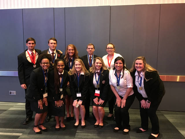 MVCTC students placing at HOSA State Competition and qualifying for the National Competition in Dallas, Texas, included: (back row left to right) Connor Howe (Allied Health/New Lebanon), Peyton Phillips (Biotechnology/Northwestern), Laura Woodworth (Health Careers/Tri-County North), Shawn Ertel (Biotechnology/Tipp City), and Shelbie Brown (Health Careers/Preble Shawnee); front row, left to right: Keara Tellis (Biotechnology/Wayne), Jaelyn Watson (Biotechnology/Trotwood), Elizabeth Crosby (Health Careers/Brookville), Alexis Reeder (Health Careers/Tri-County North), Deina Delgado (Allied Health/Tipp City), Mariah Brewer (Allied Health/Eaton).