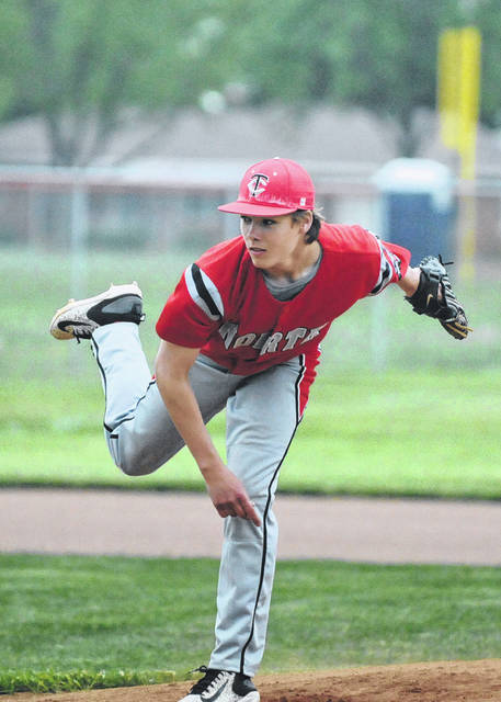 Tri-County North's Matt O'Dell limited Tri-Village to just five hits in the Panthers 12-2 win in a Division IV district semifinal game on Wednesday, May 16. North played on Friday, May 18 in the district final against Fort Loramie and lost 11-7.