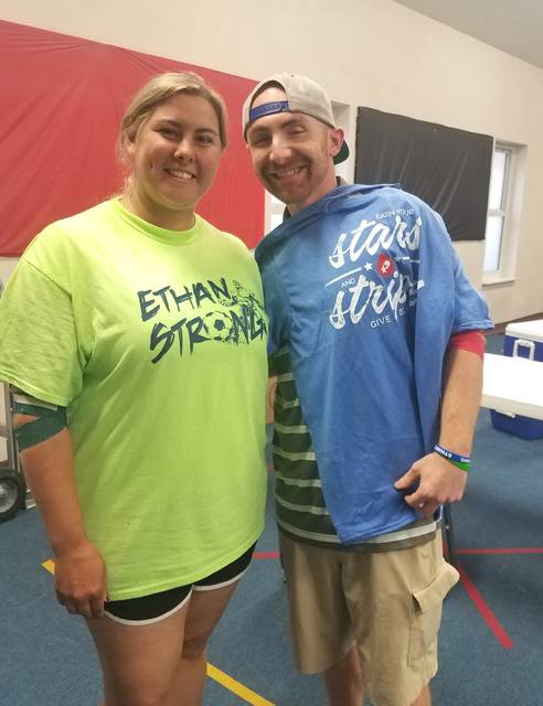 Donor Trisha Falk is pictured with Ethan Field's father, Greg Fields.