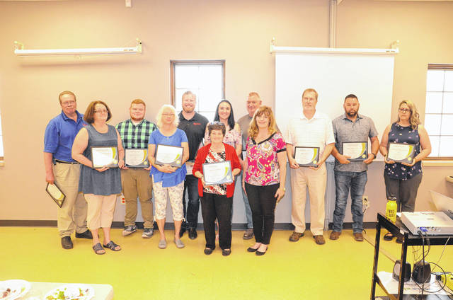 2017 100 Percent Awards were presented to businesses who worked the entire calendar year without an injury or illness resulting in a day away from work: Camden Tire and Service LLC, Rexarc International Inc., Complete Therapy Care Inc., Foster's Home Improvement LLC, MSD Environmental Services Inc., Performance Transport LLC, Lakengren Water Authority, Village of Lewisburg, Lowman Metal Shop Inc., Preble County Council on Aging Inc. Cincinnati Dayton Auto Drive Away, Weber's Body & Frame Inc., Preble County Habitat for Humanity and Village of West Alexandria.