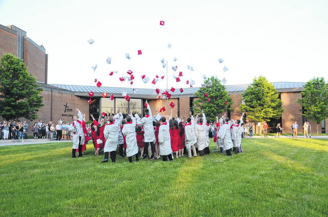 Tri-County North seniors celebrated their graduation with the customary tossing of their caps following ceremonies on Thursday, May 24.