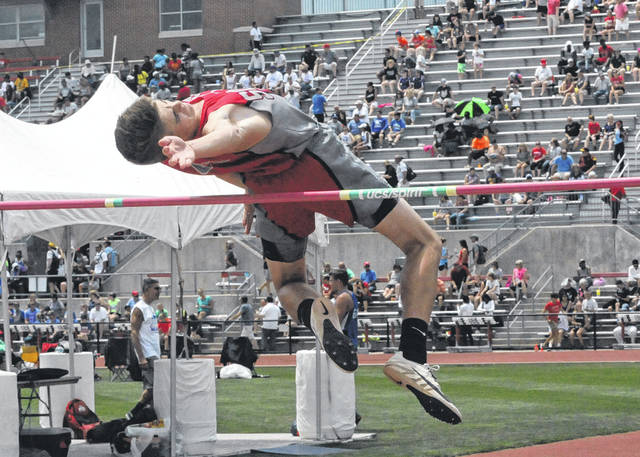 Twin Valley South's Jayden Bassler clears 6 feet, 2 inches during the OHSAA Division III state track meet on Friday, June 1 at Jesse Owens Memorial Stadium.